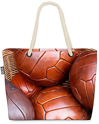 VOID Vintage Bälle Fussball Sport Strandtasche Shopper 58x38x16cm 23L XXL Einkaufstasche Tasche...