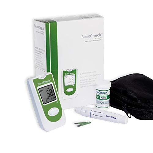 BeneCheck Premium Harnsäure-Messgerät mit Etui, Stechhilfe, Lanzetten (mit 10 Teststreifen)