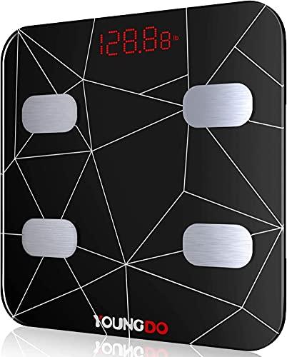 YOUNGDO Wiederaufladbare Körperfettwaage, Ganzkörperanalyse Bluetooth Körperwaage mit Smart APP...