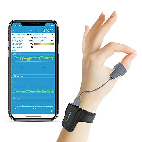 Sleep Oxygen Monitor mit Vibration Alarm für Schnarchen und Schlafapnoe, Bluetooth Handgelenk...