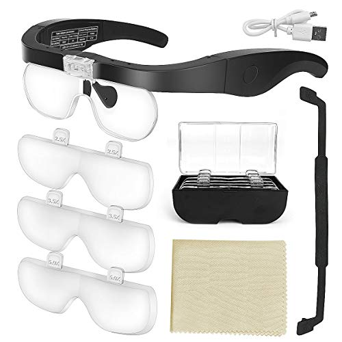 E-More Lupenbrille mit Licht Hände Frei Kopfband Lupen mit 2 LED Lichts für...