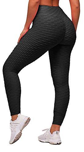 Memoryee Damen Honeycomb Leggings Geraffte Hintern Heben hohe Taille Yogahosen schick mit Sport...