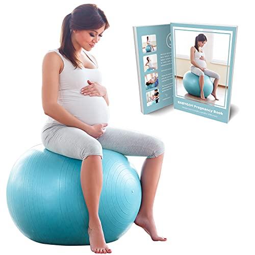 BABYGO Gymnastikball Schwangerschaft Sitzball Büro Schwangere Yoga Pezziball + 100 Seiten...
