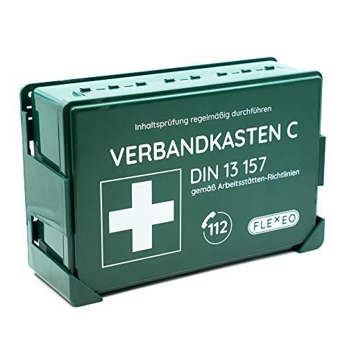 Betriebsverbandkasten DIN 13157 gefüllt für Betrieb grün mit Wandhalterung (gemäß ASR)...