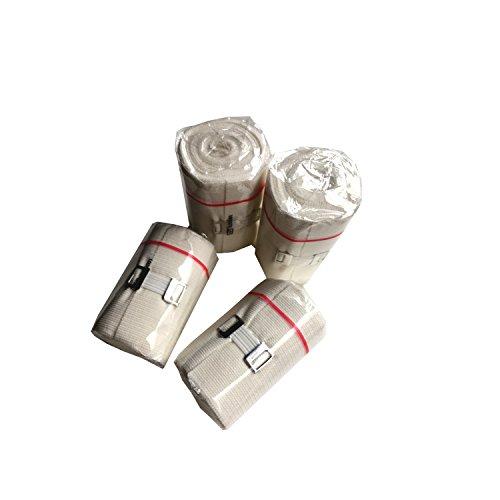 4 Stück Idealbinden weiß mit Verbandklammer weiß von Elyth. DIN 61632 für feste, komprimierende...