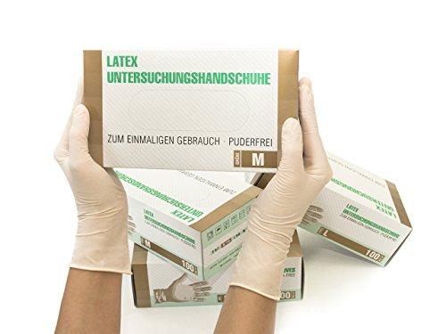 Latexhandschuhe 1000 Stück 10 Boxen (M, Weiß) Einweghandschuhe, Einmalhandschuhe,...