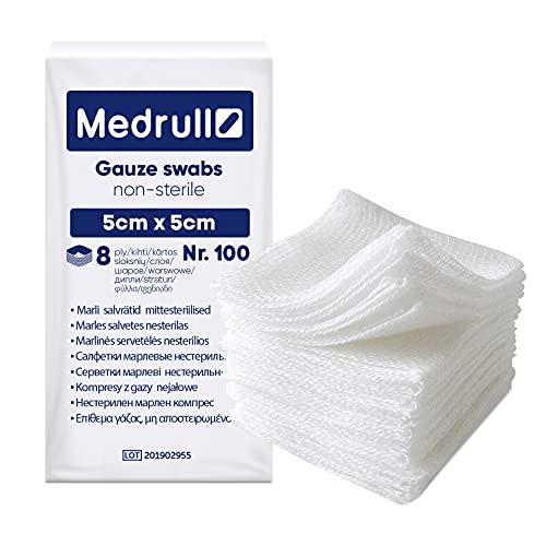 Medrull Nicht-Sterile Wundauflagen - 100% Baumwolle, sehr weiches, saugfähige Mull - Ohne Anhaften...
