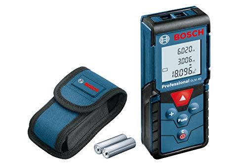 Bosch Professional Laser Entfernungsmesser GLM 40 (Flächen-/Volumenberechnung, max. Messbereich: 40...