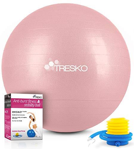 TRESKO Gymnastikball mit GRATIS Übungsposter inkl. Luftpumpe - Yogaball BPA-Frei   Sitzball Büro  ...