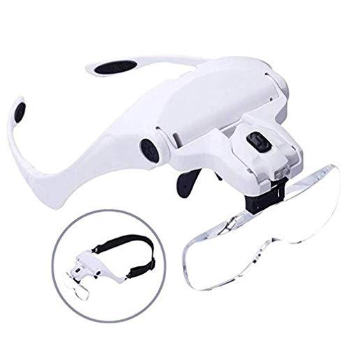 ZSCLLCQ Lupe Led Nbrille Kopflupe Mit Licht - 1X Bis 3,5X Abnehmbare Linsen – Kopfbandlupe...