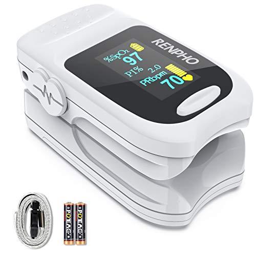 Pulsoximeter, RENPHO Fingerpulsoximeter zur Messung der Sauerstoffsättigung SpO2 im Blut mit...