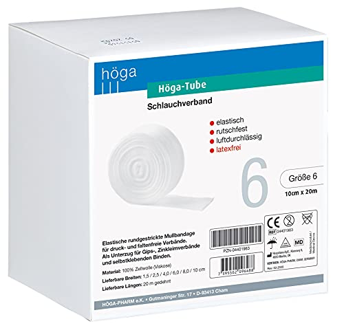 Höga Tube Schlauchverband elastisch rutschfest luftdurchlässig Größe 6 10 cm x 20 m, Weiß