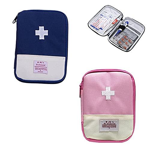 2 Stück Medikament Tasche, Mini Erste Hilfe Tasche Leer, Tragbare Mini Erste-hilfe Set,...