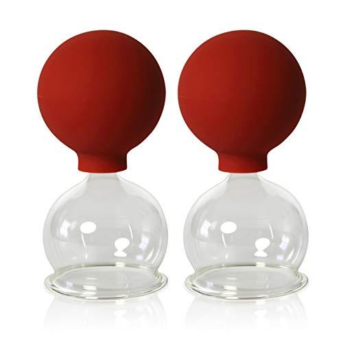 Schröpfgläser mit Ball 2 Stück 50 mm zum professionellen, medizinschen, feuerlosen Schröpfen,...