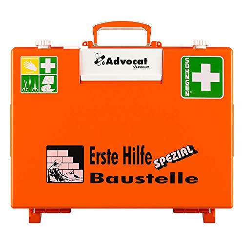SÖHNGEN Erste-Hilfe-Koffer Advocat Baustelle, Wandhalterung, orange, DIN 13157