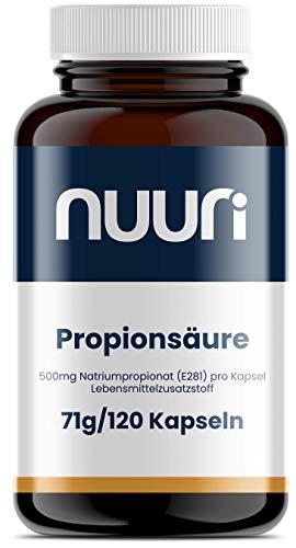 nuuri Propionsäure 120 Kapseln - 500mg reines Natriumpropionat - Kurzkettige Fettsäuren