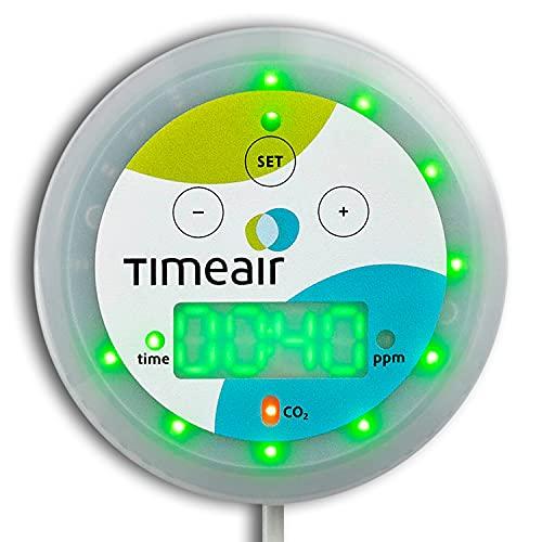 timeair ® CO2 Messgerät mit Restzeit-Anzeige   CO2 Ampel + mehr   CO 2 Melder + Monitor für...