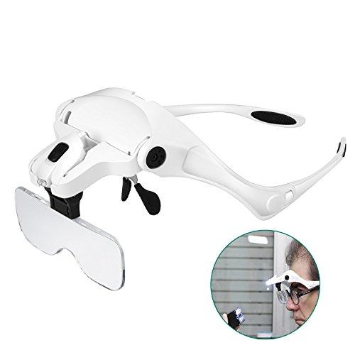 Rightwell Lupenbrille mit Licht Hände Frei Kopfband Lupen mit 2 LED Lichts für...