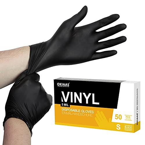 OKIAAS Einweghandschuhe Schwarz S, Vinyl Einmalhandschuhe Puderfrei, 5 mil, 50 Stück,...