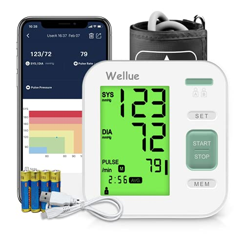 Blutdruckmessgerät Oberarm, Blutdruckmessgerät mit APP Datenverwaltungsfunktion, Digitales...