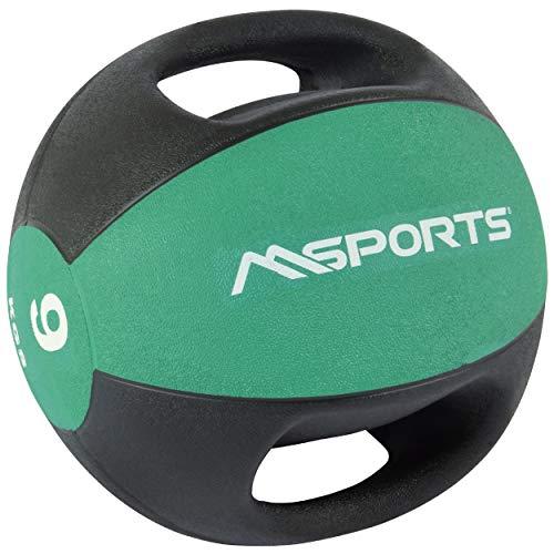 MSPORTS Medizinball Premium mit Griffe 1 – 10 kg – Professionelle Studio-Qualität...