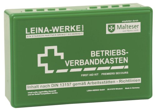 LEINAWERKE 20001 First aid kit for companies, small DIN 13157, green, with wall bracket 10 pcs.