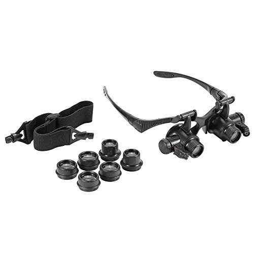 Kopflupe, 4Pcs-Linse Lupenbrille, Münzen-Stempel für die Reparatur von Uhren