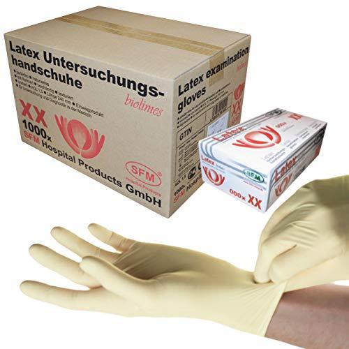 SFM ® BIOLIMES Latex : XS, S, M, L, XL weiß puderfrei volltexturiert Einweghandschuhe...