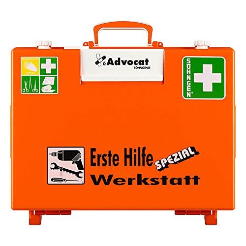 SÖHNGEN Erste-Hilfe-Koffer Advocat Werkstatt, Wandhalterung, orange, DIN 13157