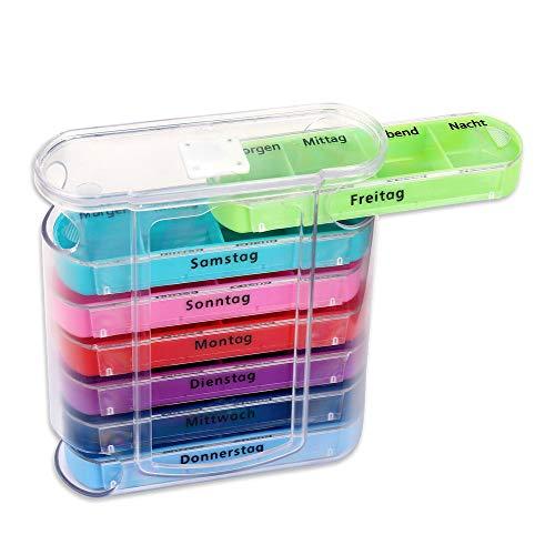 Schramm® Tablettenbox bunt mit bunten Schiebern für 7 Tage Pillen 12 x 11cm Tabletten Box...