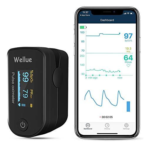Welllue Pulsoximeter, Bluetooth Finger Sauerstoff Ebene Monitor, Sp-02 Ebene und...