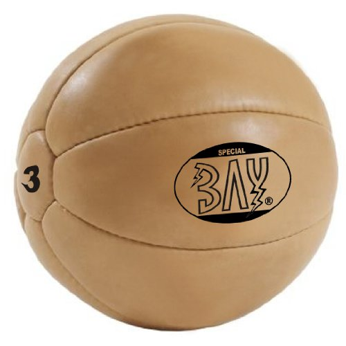 BAY® Leder PU 3 Kilo Medizinball, Profi-Qualität, Gymnastik/Fitness Ball, Farbe braun, DREI Kilo...