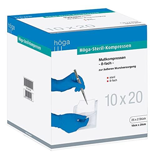 Höga Steril-Kompressen, sterile Mullkompressen - 10 x 20 cm - 25x2 Stück, steril, 8-fach, EN...