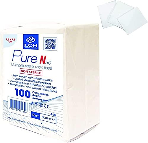 LPM - 10 Beutel mit 100 nicht Sterilen Kompressen 7,5 x 7,5 cm