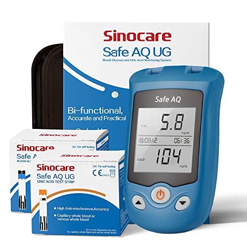 Safe AQ UG Bifunktionelles Blutzucker- und Harnsäuremessgerät mit 50 Blutzuckerteststreifen und 50...