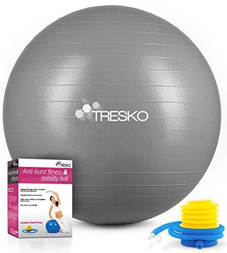 TRESKO Gymnastikball mit GRATIS Übungsposter inkl. Luftpumpe - Yogaball BPA-Frei | Sitzball Büro |...