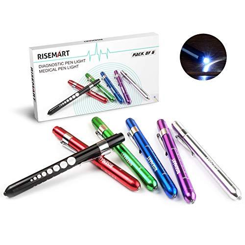 RISEMART 6 Stück Diagnostikleuchte Pupillenleuchte Wiederverwendbare LED Stiftlampe mit Taschenclip...