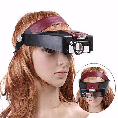 N\C Vergrößern 10X beleuchtete Lupe Headset Kopflupe Einstellbares Kopfband Handheld