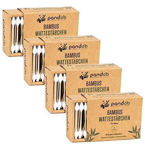 pandoo 4er Pack Bambus Wattestäbchen mit großem Sicherheitskopf (220 Stück) |...