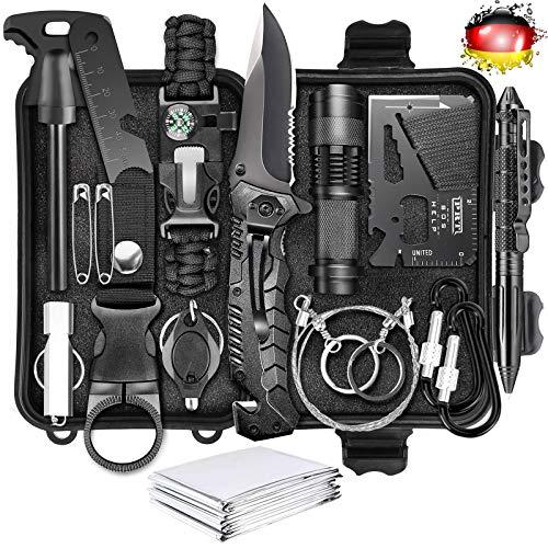 LC-dolida Survival Kit 15 in 1, Außen Notfall Survival Kit mit Messer/ Taktische Taschenlampe für...