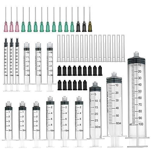 Spritzen mit stumpfen Nadeln, 15 Packung (100 ml/60 ml/30ml je 1;10ml/5ml/3 ml/1 ml je 3) und...