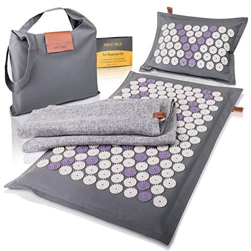 High Pulse® Eco Akupressur Set inkl. Tasche + Poster – Akupressurmatte & Kissen mit Magneten aus...
