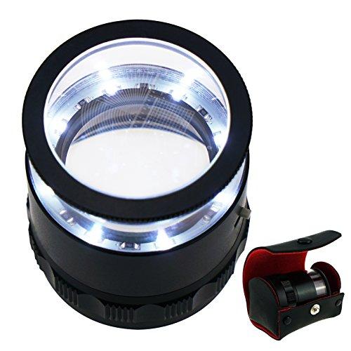 Pocket Handheld klein Größe 10x mit 25mm 2,5cm (0,99 Zoll) mit LED-Licht, fokussierte Augenlupe...