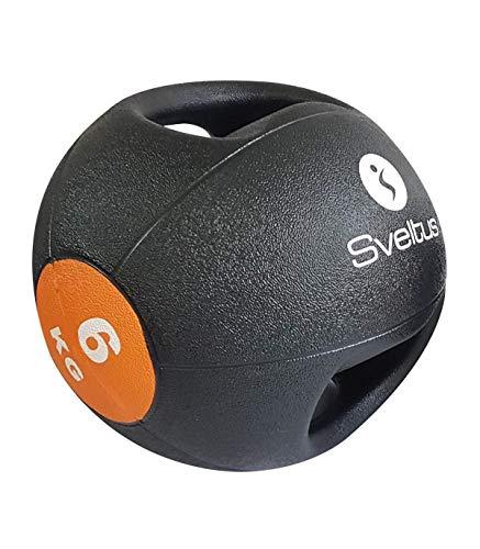 sveltus Medizinball mit Griffen, Unisex, Erwachsene, Schwarz/Orange, (erhältliche Gewichtsgrößen:...