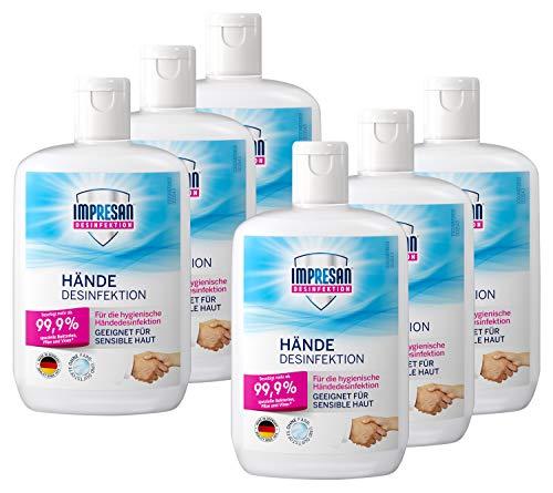 Impresan Hände Desinfektion: Flüssiges Desinfektionsmittel - hygienische Handdesinfektion 6 x...