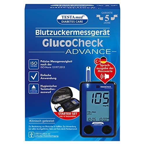 TESTAmed GlucoCheck ADVANCE Blutzuckermessgerät, einfach, schnell und sicher Blutzucker messen,...