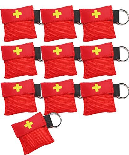 Worldconnection 10x Set Beatmungsmaske Beatmungstuch Beatmungsfolie rot CPR Maske