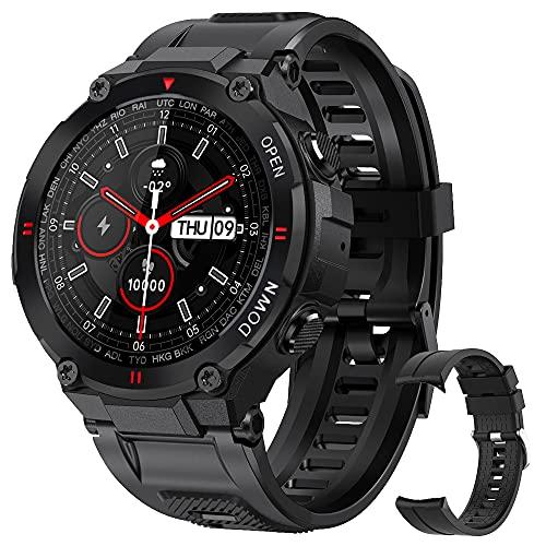 Smartwatch für Herren, mit Pulsmesser, Blutdruck, Schlafmonitor, Schrittzähler, wasserdicht, IP68,...