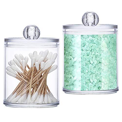 Wattestäbchen Aufbewahrung, 2 Stück Wattestäbchen Spender Cotton Wattepads Behälter Box Make-up...
