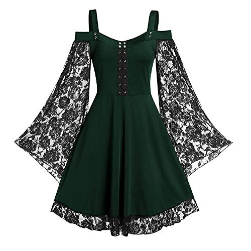 Kobay Damen Winter Langarm Rock Lässig Mode Kleider Bequem Flare Sleeve Cross Corn Cold Shoulder...